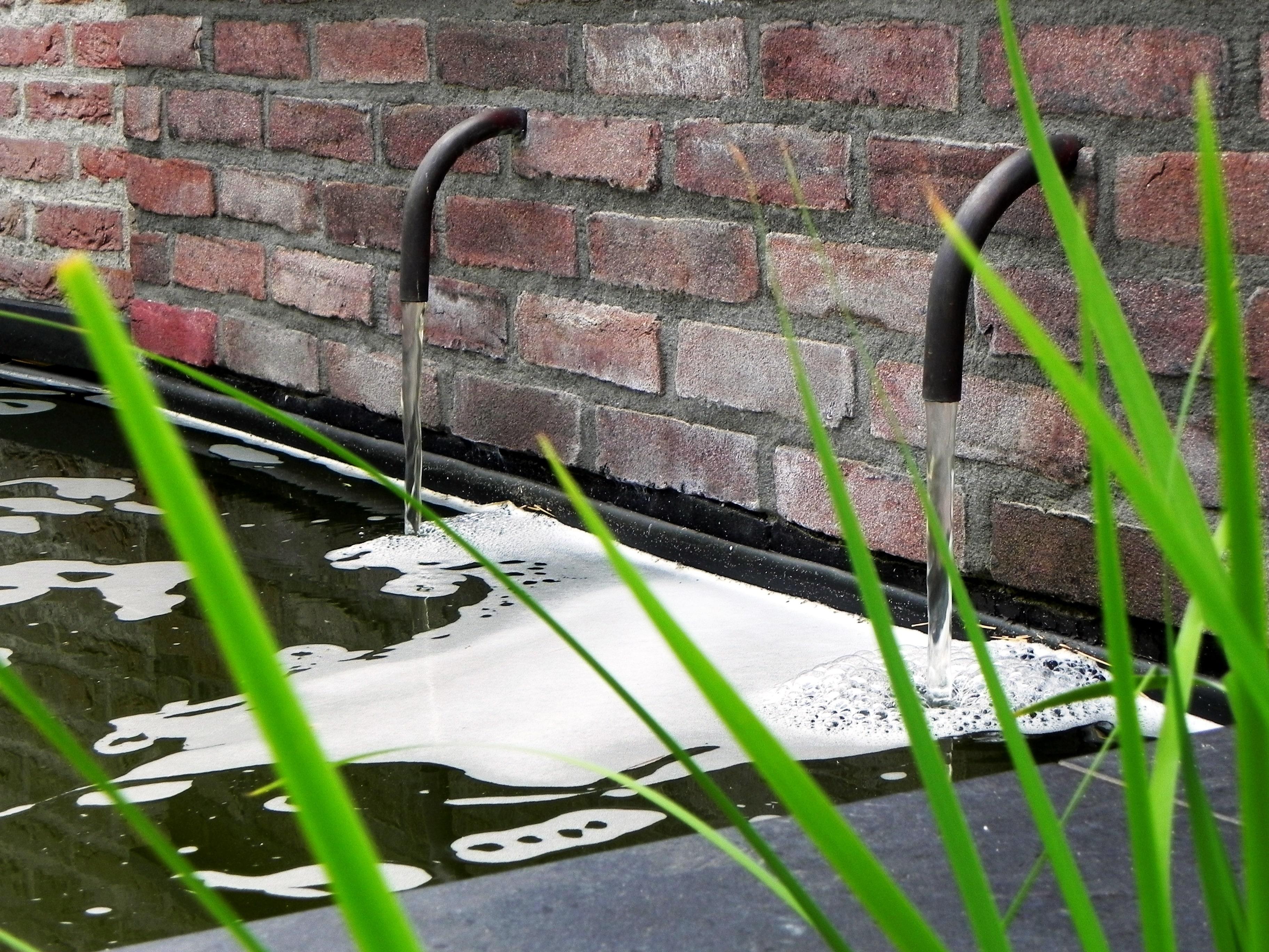 Een gemetselde waterbak met twee gebogen metalen water toevoeren. Groene waterplanten op de voorgrond.