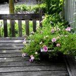 een verweerde huten tuintafel met roze eenjarige beplanting in een pot.