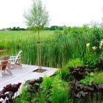 Een vlonder nodigt uit om bij de aangrenzende sloot te gaat zitten en te genieten van het landschap van weilanden.